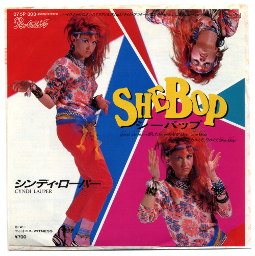 80srecordparty:  She Bop b/w WitnessCyndi Lauper, Portrait Records/Japan (1983)