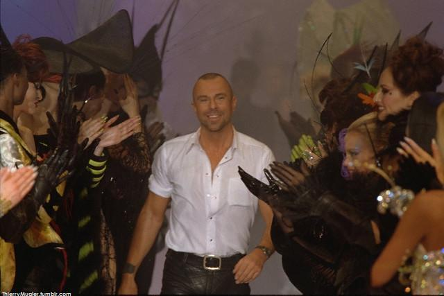 Thierry Mugler at the end of his SS 1997 'Les Insectes' Haute Couture collection…