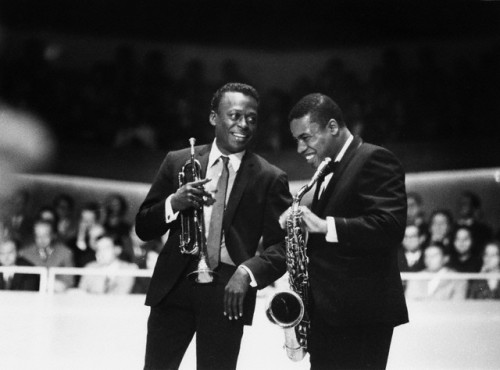 Miles Davis with legendary saxophonist Wayne Shorter.