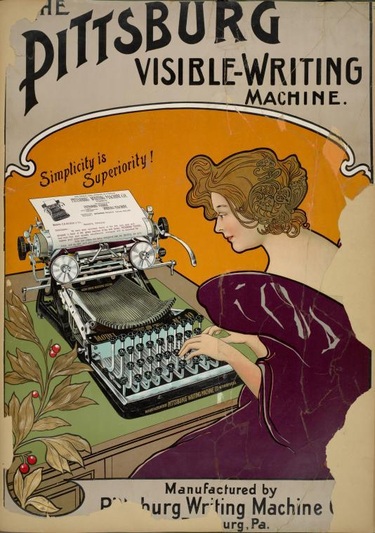 The Pittsburg Visible Writing Machine.  Source: NYPL