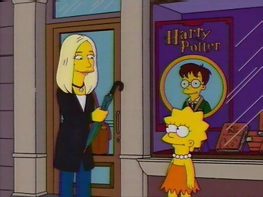 perfection-is-emma:  Lisa Simpson: Ms. Rowling, I love your books. You've turned an entire generation on to reading.  J.K. Rowling: Thank you, young Muggle. Lisa Simpson: Could you tell me what happens at the end of the series? J.K. Rowling: [exasperated] He grows up and he marries you! Is that what you want to hear? Lisa Simpson: [dreamily] Yes.