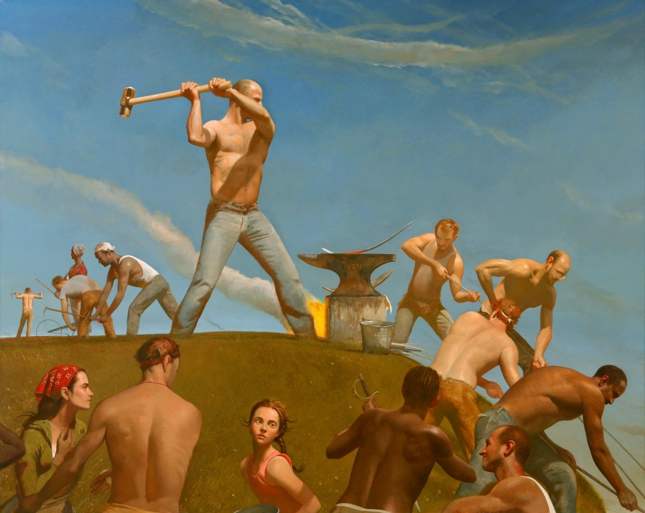 loverofbeauty:  bo bartlett - the forge 2008 ( swords into plowshares )