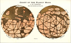 Chart of the Planet Mars. From recent observations by Schiaparelli. Signed W. Peck Delt. Found here.