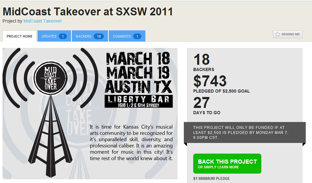 Midcoast Takeover at SXSW  Next up in need of funding is our event Midcoast Takeover. We are bringing SXSW an awesome party full of great KC bands. Help is appreciated in any way.