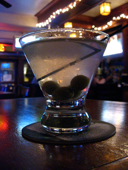 "Dirty Ketel One Martini at Dillingers in Queens. Not the best of anything. I asked the bartender if he had a favorite mixed drink and he was uninspired/uninspiring. Also the burger was just so so. A big ""eh"" all around.  Photo credit: Lush Lady"