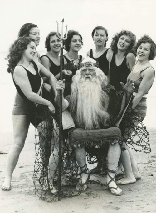 "Actor Burr McIntosh as ""Father Neptune"" for the ""Neptune Electrical Extravaganza"" pageant Long Beach, California 1933"