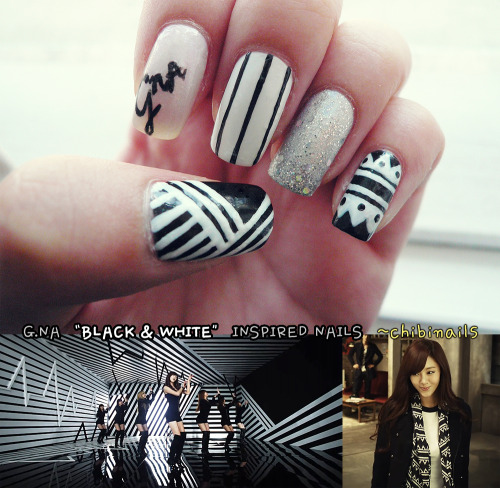 "G.NA inspired nails from her ""Black & White"" music video :)"