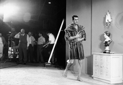 A fur-clad Rock Hudson during a rehearsal for Lover Come Back at Universal Studios, California, 1960. Photo by Leo Fuchs.