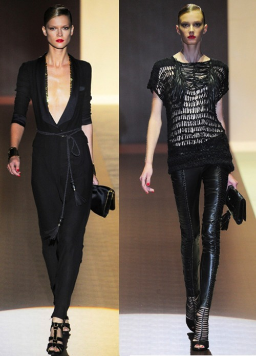 I just wanna say that I am absolutely loving the new Gucci Spring 2011 RTW collection. I love that although everything is black, the pieces are beautifully detailed with gold, fringes, silk, and heavy knots.