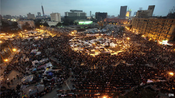 Tahrir Square, Cairo. While protests continue, it is suggested that something close to normalcy is beginning to return.