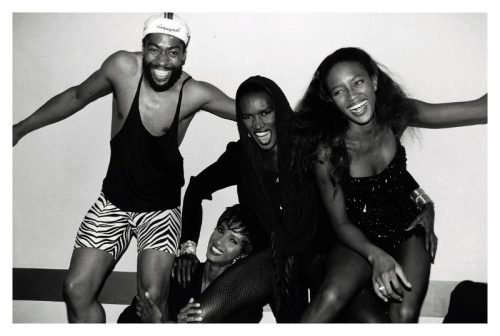 Patrick Kelly, Iman, Grace Jones & Naomi Campbell in 1989. Photo by Roxanne Lowit.
