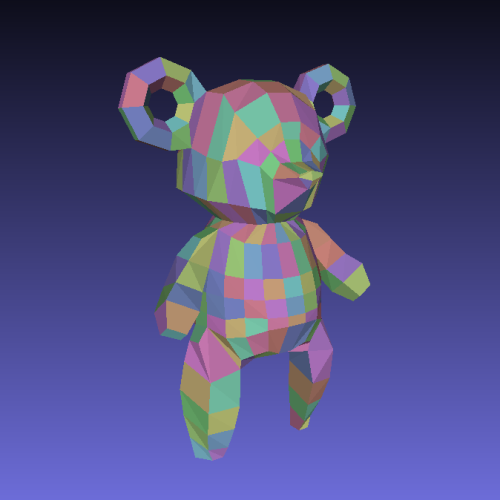 "Colorful bear 各面にランダムな色を持つクマ。 using mashlab ""randam face color"""
