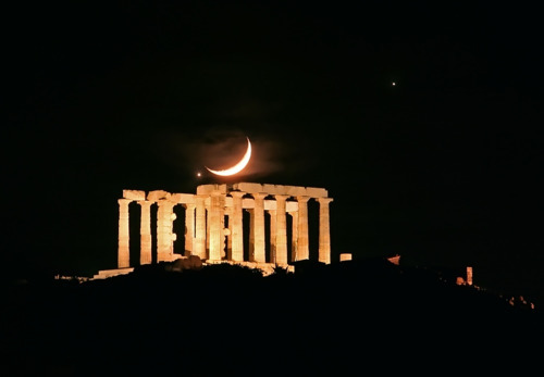 Conjunction at the temple of Poseidon, Cape Sounion, Greece By: Chris Kotsiopoulos