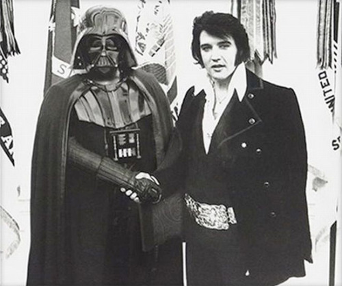Darth Vader meets Elvis Presley No words.