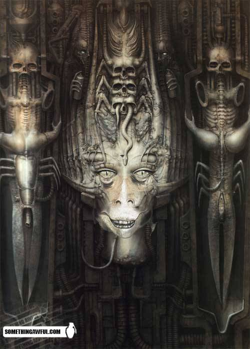 As if H.R. Giger's works couldn't be any more bone chillingly disturbing. Thanks, SA
