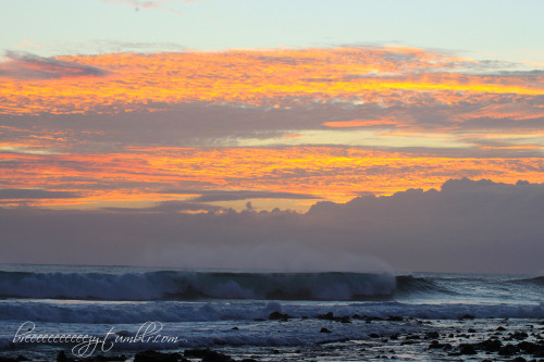 """Sunset Surf"" Here's another pic from yesterday…we went down to Salt Pond after work with the kids. The sunset was absolutely gorgeous and the waves were huge. It's been a long time since I've seen sets that big there. It was a reminder of why people say we are lucky to live on Kauai."