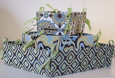 Fun decorative boxes made from on old box and some fabric!  ~  THE SMALLEST SPARROW: fabric covered boxes