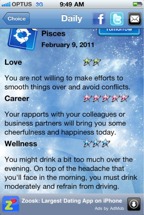 How does some iPhone Internet horoscope know me so well?