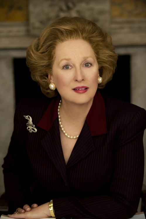 Meryl Streep as Margaret Thatcher is a little uncanny The mouth and the teeth are sort of off, but cover up the bottom of the face and suddenly absolutely becomes Margaret Thatcher. Meryl Streep is playing Great Britain's first female prime minster in the upcoming Thatcher biopic, The Iron Lady, currently shooting in London. Via