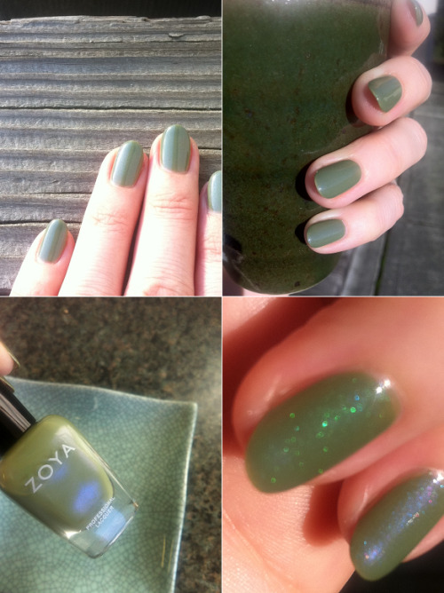 "My nails today: Zoya ""Gemma"".  The lower right photo is, L-R: Gemma with Pure Ice ""Heartbreaker"" over it (which gives it this amazing amped-up Chanel Jade effect), Gemma alone."