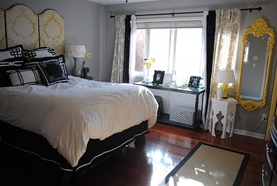 love the headboard & the curtains! sweethomestyle:  Submitted by OrdyandJoon