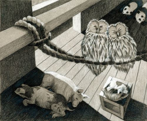 Black and White colored pencil on gray toned paper Noah's Ark Scene