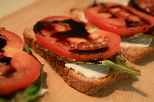 "Ooh yeah, tomato-basil-""mozzarella""-balsamic snacks from Casey R. Also, yes please, I will eat 10 right this minute. Thanks for the recipe, Casey!"