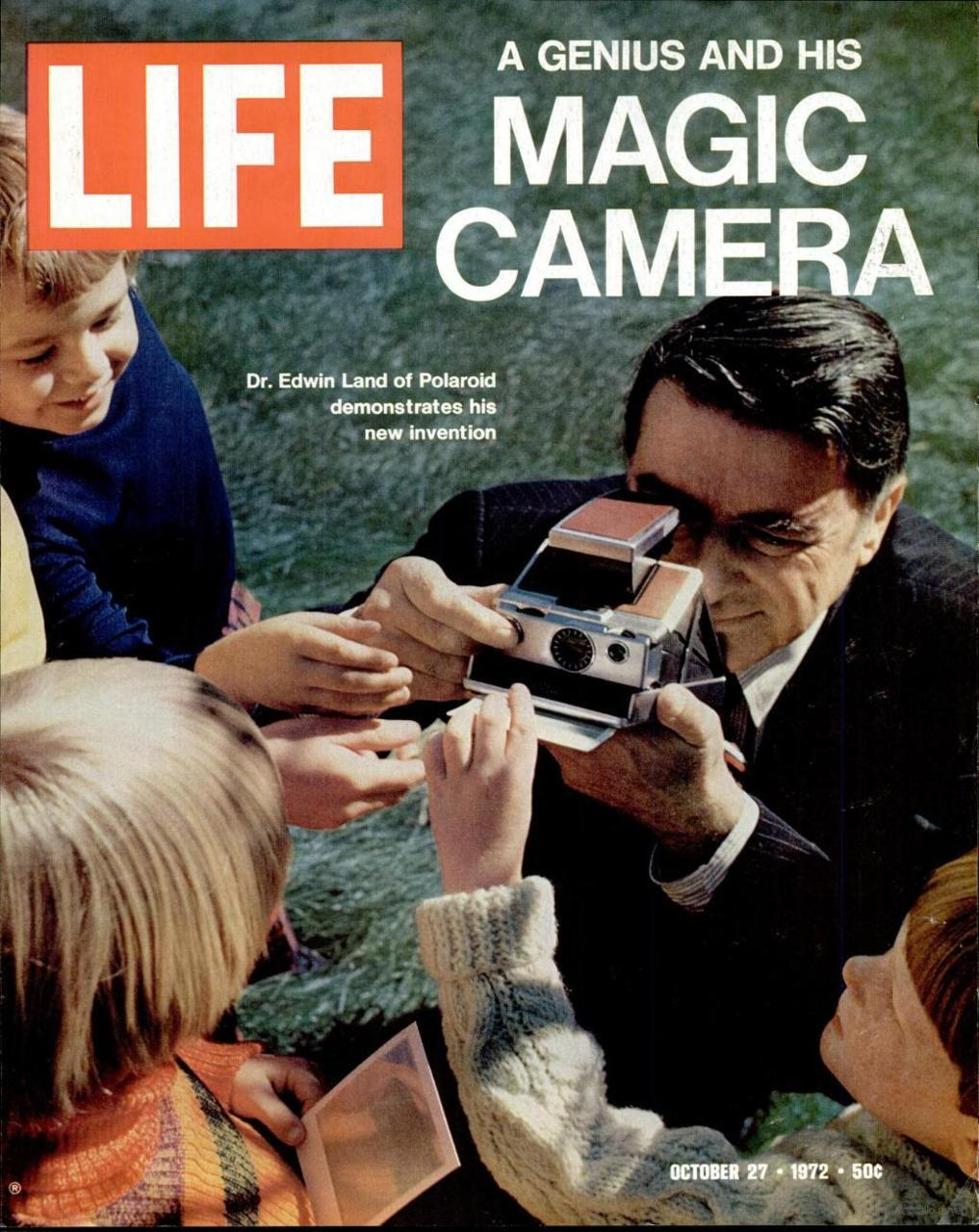 Edwin Land of Polaroid demonstrates his new invention. LIFE, October 27, 1972. (via)