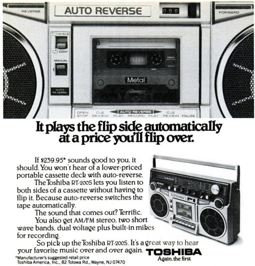 Toshiba RT-200S ghettoblaster. New York Magazine, February 8., 1982. The sound that comes out? Terrific.