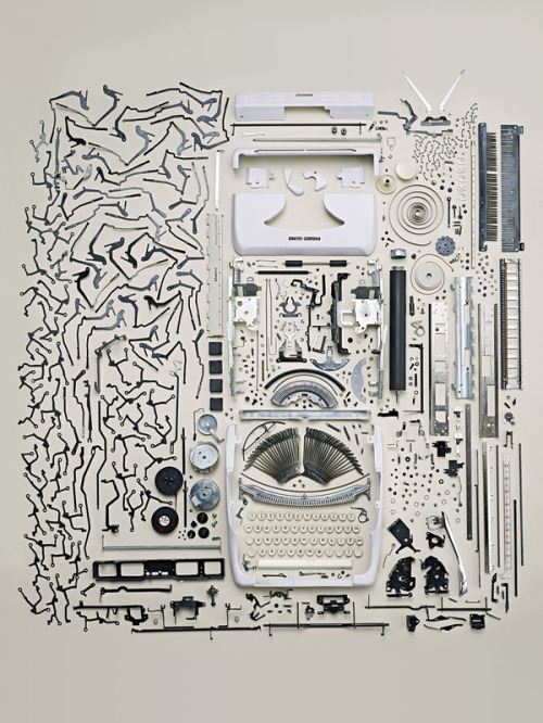 inothernews:  iheartclassics:  flavorpill:   Todd McLellan's deconstructed typewriter   Wow. Gorgeous.  It's more of an art putting something together than it is taking something apart.  But this is still neat.