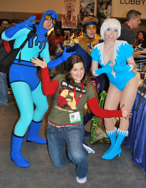 Blue Beetle, Booster Gold and Ice Cosplayers with Amanda Conner at San Diego Comic Con 2010 (Source)