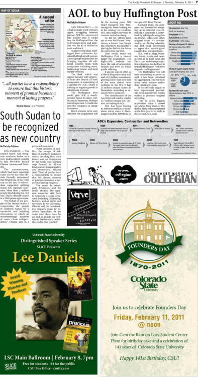 Tuesday, February 8, 2011. The Rocky   Mountain         Collegian inside page. Page designed by Chief Designer Greg Mees. We pulled some graphics from McClatchy-Tribune and fixed them to fit  into our style to make the wire pages look more appealing.