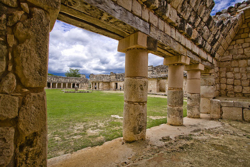 Columns and Courtyard, Uxmal - Mexico
