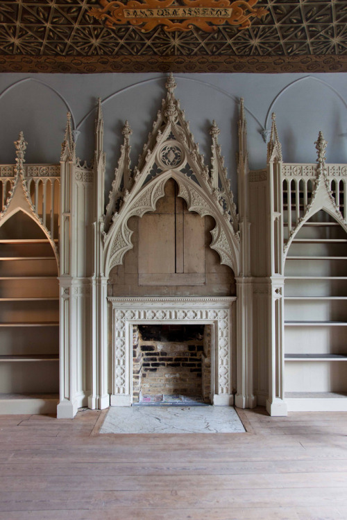 booksnbuildings:  The library of the whimsical neo-gothic Strawberry Hill manor close to London, England. (via)