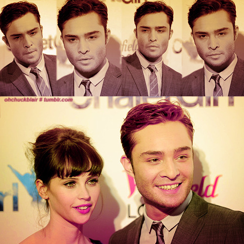 Ed Westwick. With Felicity Jones in Chalet Girl - UK film Premiere. February 9, 2011.
