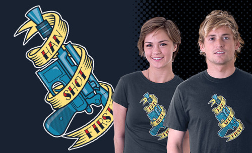 """Han Shot First"" T-shirt design by Scott ""Naked"" Derby available from Teefury.com on Tuesday, February 15th for 24 hours only. Makes a great gift for fans of ""Inter-Stellar Warfare"". Check out http://Teefury.com for details"