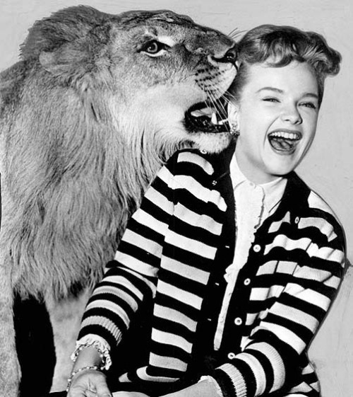 Anne Francis and a cute friend c. 1950s