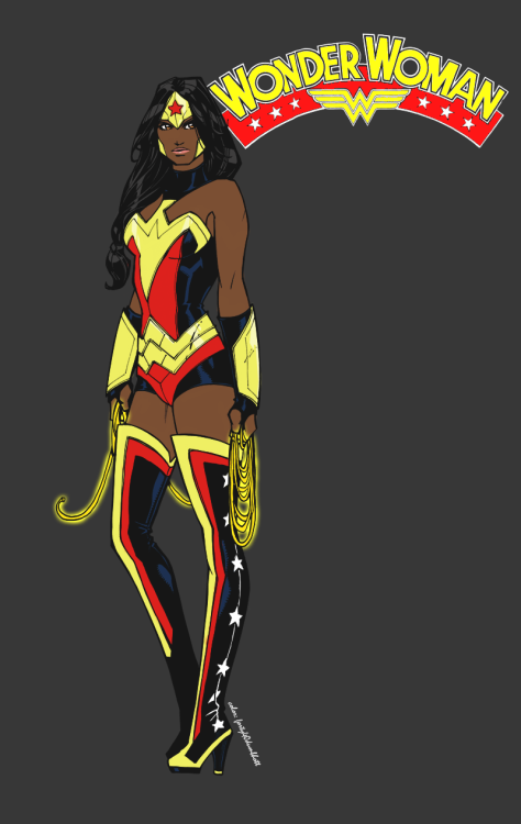[Image description: a full-body drawing of Wonder Woman as a dark-skinned woman of colour, standing on a dark grey background. In the upper right corner are the words 'WONDER WOMAN' forming an arc over the WW symbol.] forty40dumbhott:  It will never happen but I'm liking some of the things I'm hearing about who they might cast for Wonder Woman. edit: made the metal more gold-ish… olivernome