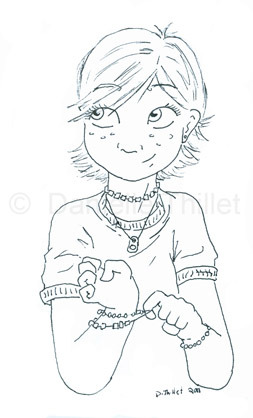 New sketchbook: Girl with bracelets.