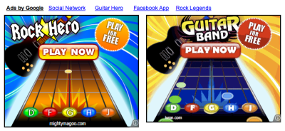 "One of these ads is ripping off Guitar Hero, the other ad is ripping off (clearly) the other ad.  No, they're not the same company, look at the URLs, one is ""iwon.com"" and the other is ""mightymagoo.com."""