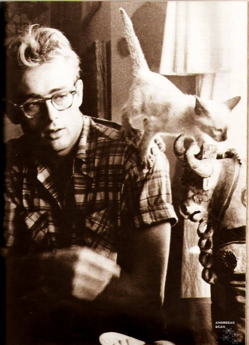 James Dean with his Marcus (who was a gift from Elizabeth Taylor)