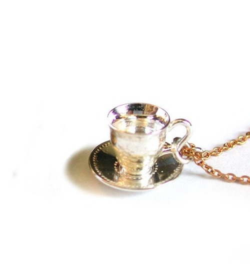 Teacup and Saucer necklace by Alex Monroe