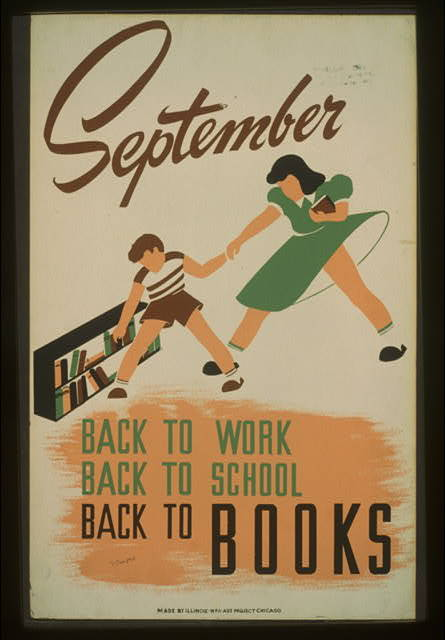 WPA poster: September — Back to Work, Back to School, Back to Books.