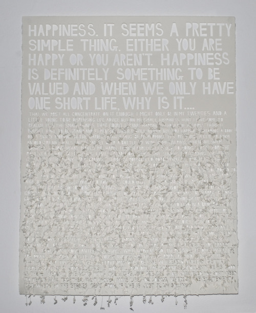 bookarts2011:   28 - Jess smith The oxford dictionary defines happiness as merely 'the state of being happy'. However, interestingly enough the first example they give is an explanation of someone struggling to actually be happy. As I have stated in my piece you don't have to constantly be happy, feeling like you are falling apart and that your life is a mess is all normal. The journey might be hard but in the end you will get back to happiness, assuming you were ever happy in the first place. I believe this piece represents a more modern, less clichéd example of happiness…. That happiness, and in fact unhappiness, is inevitable. You will fall apart and put yourself back together and surprisingly enough, it is this that makes happiness so great.
