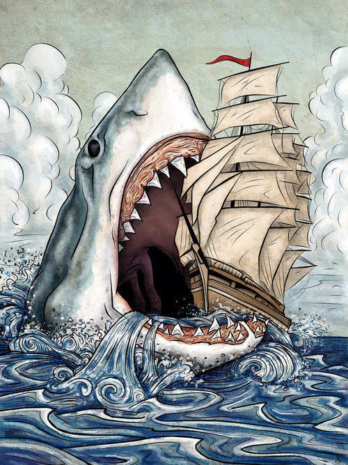 Somebody has been watching too many Jaws movies. (original source unknown)