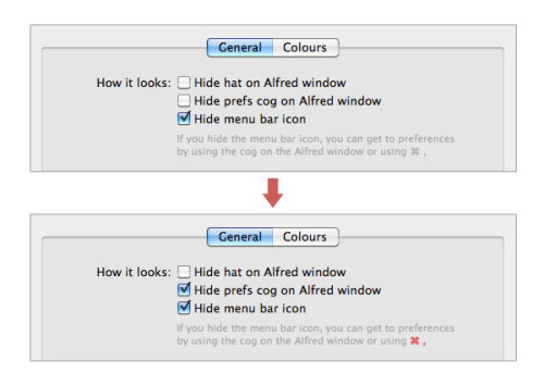 Alfred - Highlights the keyboard-shortcut when you disable all other GUI to access the preferences. /via Hans Petter Eikemo