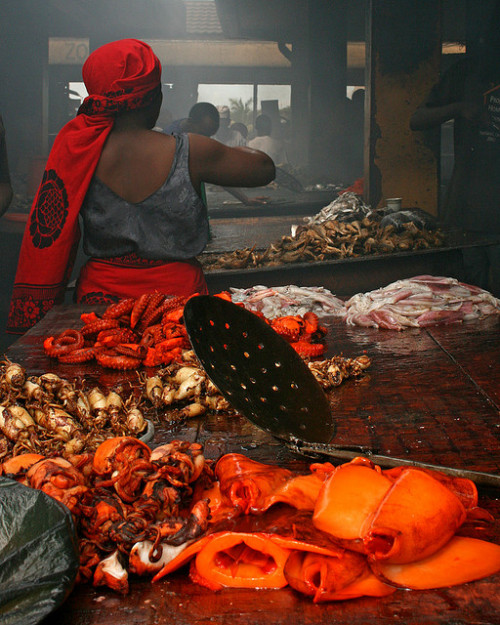 "kilele:  ""Barbequed Squid"" Fish Market in Dar es Salaam, Tanzania Photo by IstanbulMike"