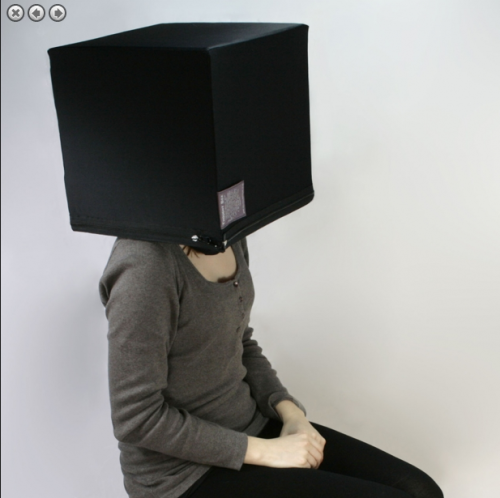 "In search of an oversized $990 box to wear on your head that claims to enhance ""mental efficiency""? Look no more! ""The Thought Box is an original and curious piece of furniture that promotes mental efficiency in the user. For convenience, it has been built in to fit beneath the Thought Stool when not in use. To experience the Thought Box, you simply lift up the seat by the handle, thus freeing the unit. Then sit on the stool and place the box on your head. It is intended as a personal space in which to simply think, using sensory deprivation to exclude the outside world."" It comes in 5 colors, right this way: http://thrl.st/thethoughtbox"