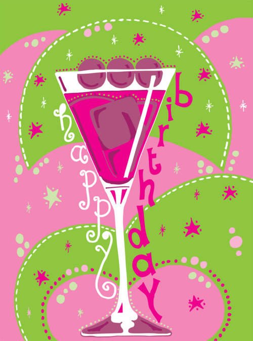 Birthday card design for my cousin, inspired by a cocktail glass - www.pinkshoesart.com