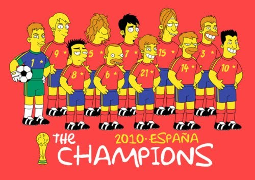 "This is a cartoon version of the Spanish National Football - Soccer Team that won the FIFA World Cup Championship last year. Matt Groening, the ""Simpsons"" creator,   gives Spain a special tribute…"